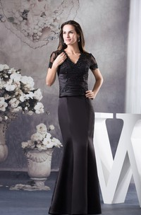 V-Neck Short-Sleeve Mermaid Satin Dress with Appliques and Illusion