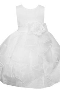 Sleeveless A-line Ruffled Dress With Flower