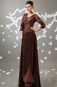 Maxi Sleeve V-Neck Chiffon Pleated Dress With Ruched Top