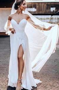 Bohemian A Line Chiffon Tulle Off-the-shoulder 3/4 Length Sleeve Wedding Dress With Criss Cross