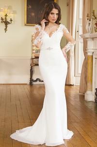 Mermaid Maxi V-Neck Illusion Sleeve Appliqued Chiffon Wedding Dress