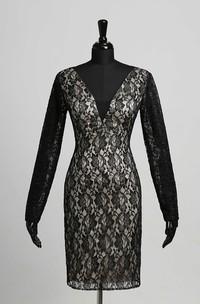 Sheath V-neck Lace Sexy Knee-length Long Sleeve Zipper Keyhole Dress with Lace