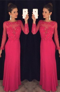 Elegant Long Sleeve Red Chiffon Prom Dress 2018 Lace Appliques Sequins