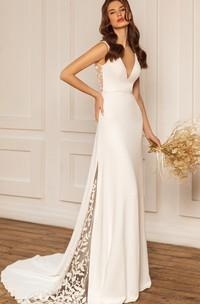 Bohemian Satin V-neck Sheath Sweep Train Low-V Back Wedding Dress