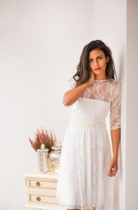 Mini Long Sleeve Lace Jersey Satin Weddig Dress