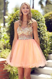 Muti-Color A-Line Short Straps Sleeveless Tulle Dress With Beading