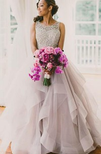 Sleeveless A-line Tulle Sweep Train Dress with Ruffles