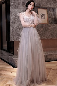 Romantic Tulle Off-the-shoulder V-neck A Line Formal Dress With Appliques and Ruffles