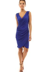 Sleeveless V-neck Knee-length Ruched Dress