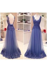 Sleeveless V-neck A-line Tulle Lace Backless Dress