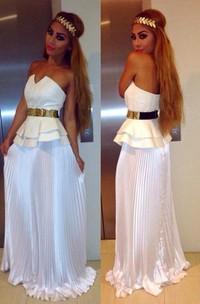 Sexy White Sleeveless A-line Prom Dress Open Back Belt