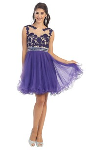 A-Line Short Scoop-Neck Sleeveless Tulle Illusion Dress With Appliques And Pleats