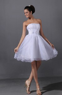 Lovely Ruffled A-Line Short Style Dress With Flower