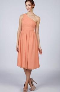 A-Line One-shoulder Ruched Short Chiffon Dress