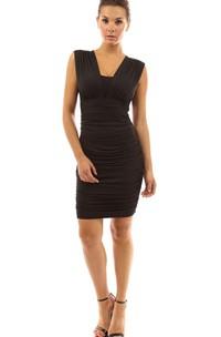 Cap-sleeved Short Rcuhed Sheath Chiffon Dress