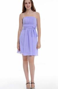 A-line Short Strapped Chiffon Dress With Ruffles