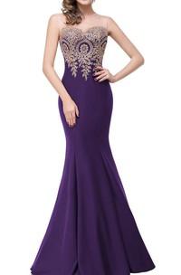 Sleeveless Mermaid Satin Dress with Lace Applique Bodice