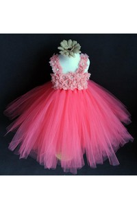 Coral Pink Flower Strap Pleated Tulle Tutu Dress With Beading