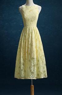 2018 Lace Daffodil Bridesmaid Daffodil Lace Tea Length Wedding Formal Party Prom Tea Length Dress