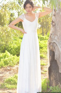 V-Neck Cap Sleeve Long A-Line Chiffon Wedding Dress With Beading