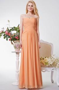 Cap Sleeve A-line Ruched Long Chiffon Dress