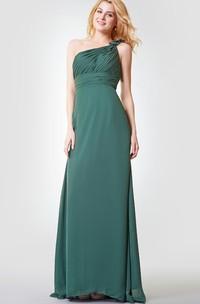 Sleeveless A-line Long Chiffon Dress With Flower
