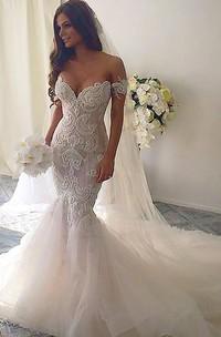 Trumpet Court Train Off-the-shoulder Lace Wedding Dresses