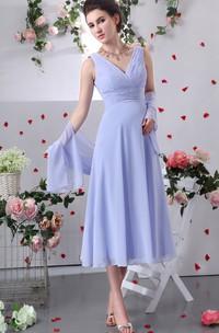 Tea-Length Chiffon V-Neck Dress With Crisscross Ruching