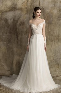 V-Neck A-Line Tulle Wedding Dress With Lace Bodice