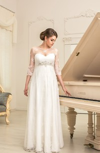 A-Line Long Jewel-Neck Illusion-Sleeve Empire Corset-Back Lace Dress With Beading