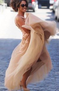 Sleeveless A-line Floor-length Chiffon Dress with Lace