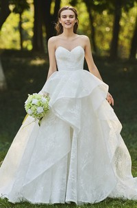 Lace Open Back Sweetheart Cascading Ruffles Sleeveless Bridal Ball Gown