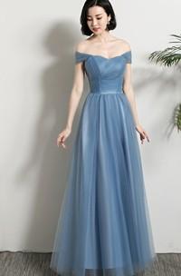 Elegant Tulle Off-the-shoulder V-neck One-shoulder A Line Formal Dress With Ruching