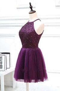 Short Halter Beaded Dress With Pleats