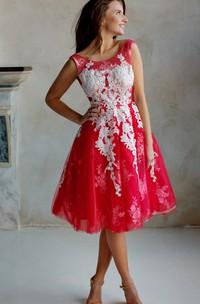 A-Line Knee-Length Jewel Short Sleeve Lace Pleats Low-V Back Dress