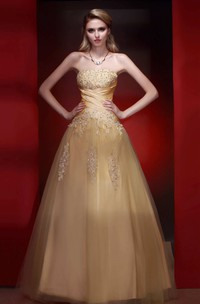 Sleeveless Ruched Beaded A-line Tulle Gown