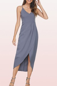 Bodycon V-neck Chiffon Cocktail Dress With Draping and Split Front