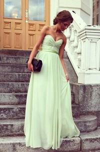 A-Line Princess Sweetheart Pleats Sleeveless Floor-Length Chiffon Prom Dresses