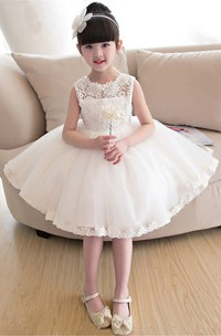 Laced Bateau Sleeveless Knee-Length Flower Girl Dress