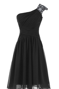 Cap-sleeved One-shoulder Chiffon Dress With Sequins