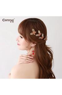 Bride Red Headdress Hair Ornaments Chinese Cheongsam Wedding Accessories Plate Hairpin U-Shaped Clip