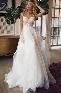 Romantic A Line Lace Tulle Straps Sweetheart Sleeveless Wedding Dress with Ruffles