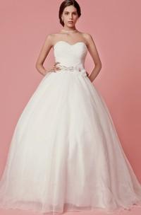 Sweetheart Organza Ball Gown With Crisscross Ruching