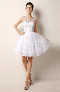 Strapless Scoop Neck Ruched Short Lace Dress