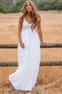 A Line Spaghetti Chiffon Lace Floor-length Sleeveless Wedding Dress