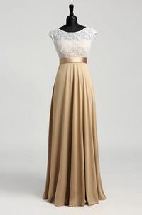 Floor-length A-line Bateau Cap Short Sleeve Illusion Jersey Lace Dress