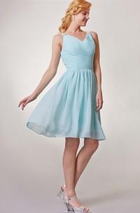 Chiffon V Neck Short Bridesmaid Dress with Ruching