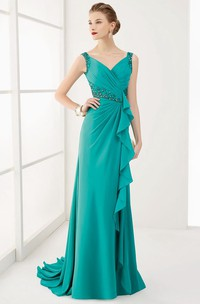 V Neck V Back Crystal Waist Long Prom Dress With Ruffles And Brush Train