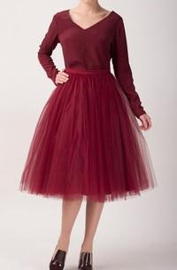 Cherry Tulle Tutu Skirt Tea Length Dress