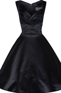 Cap-sleeved A-line Knee-length Satin Gown